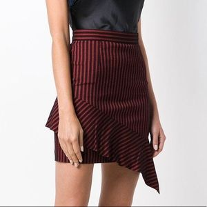 pinko • asymmetric striped mini skirt red